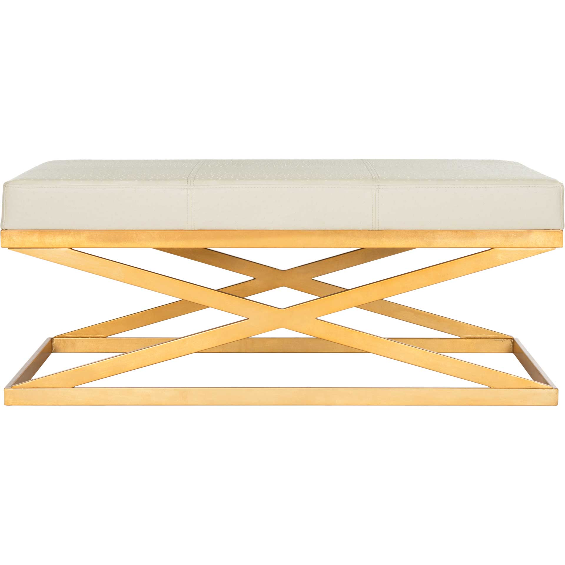 Alaric Faux Ostrich Bench Clear/Gold