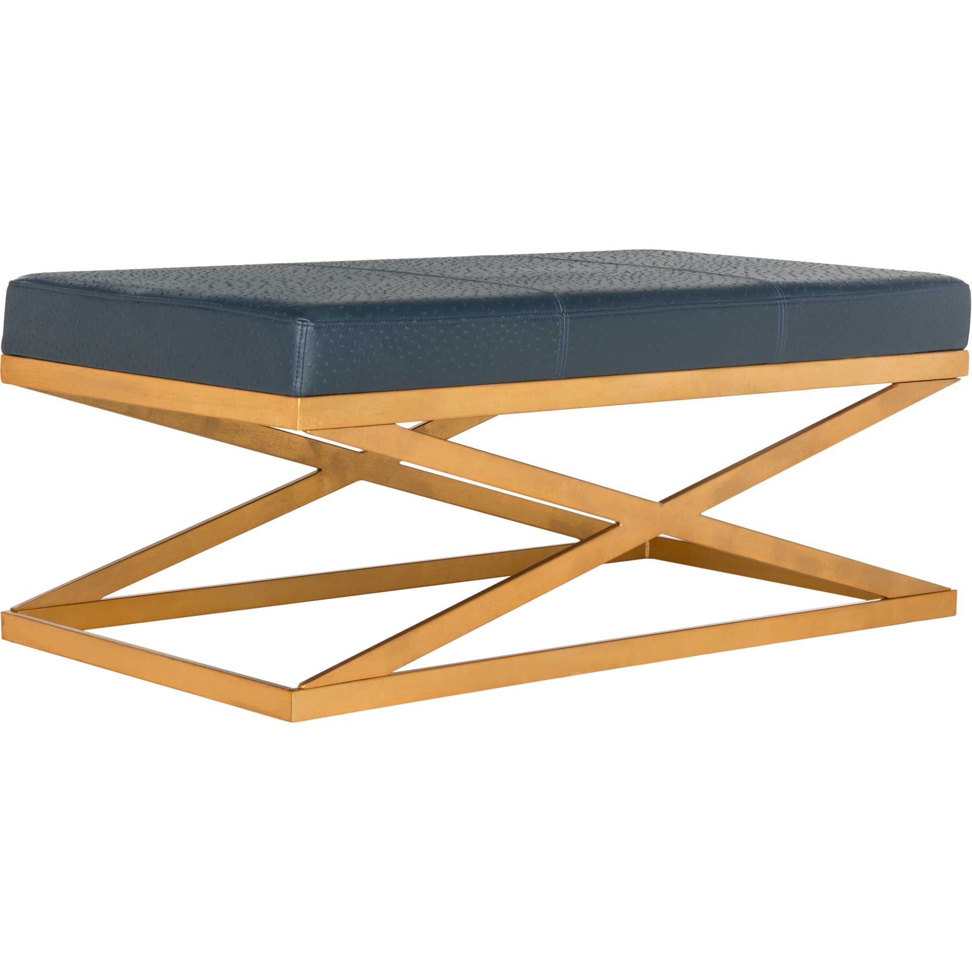 Alaric Faux Ostrich Bench Navy/Gold