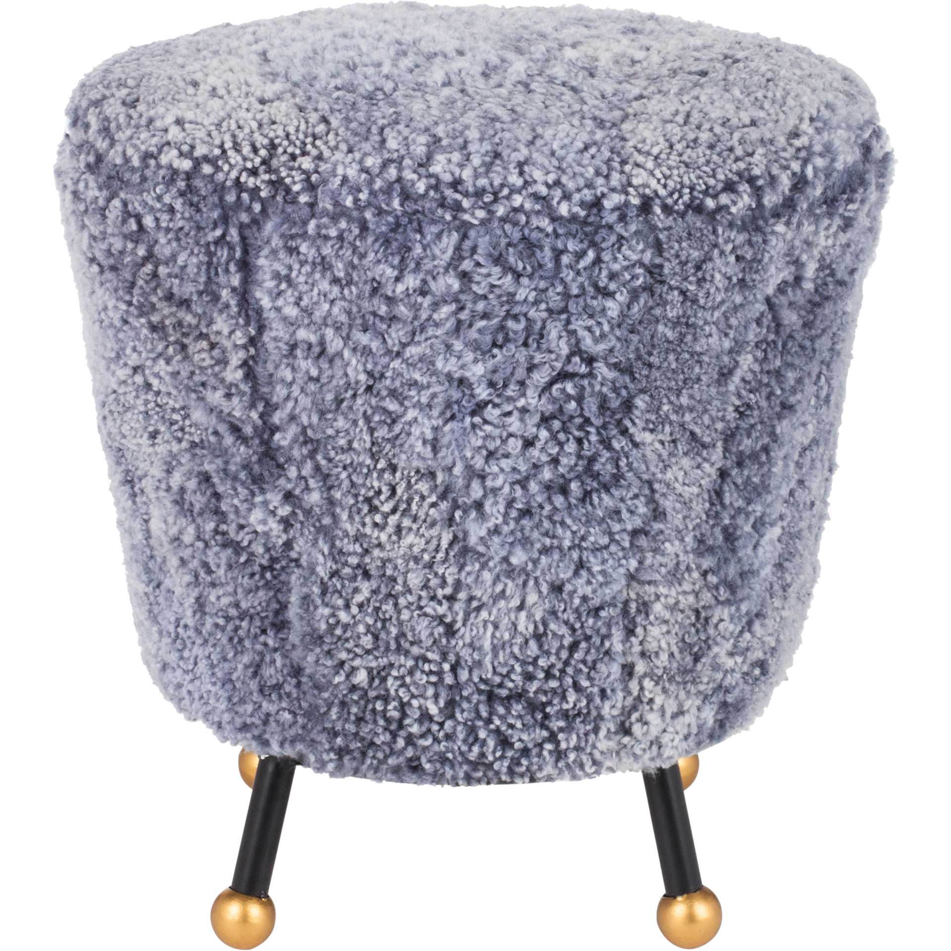 Orbit Retro Sheepskin Ottoman Light Blue