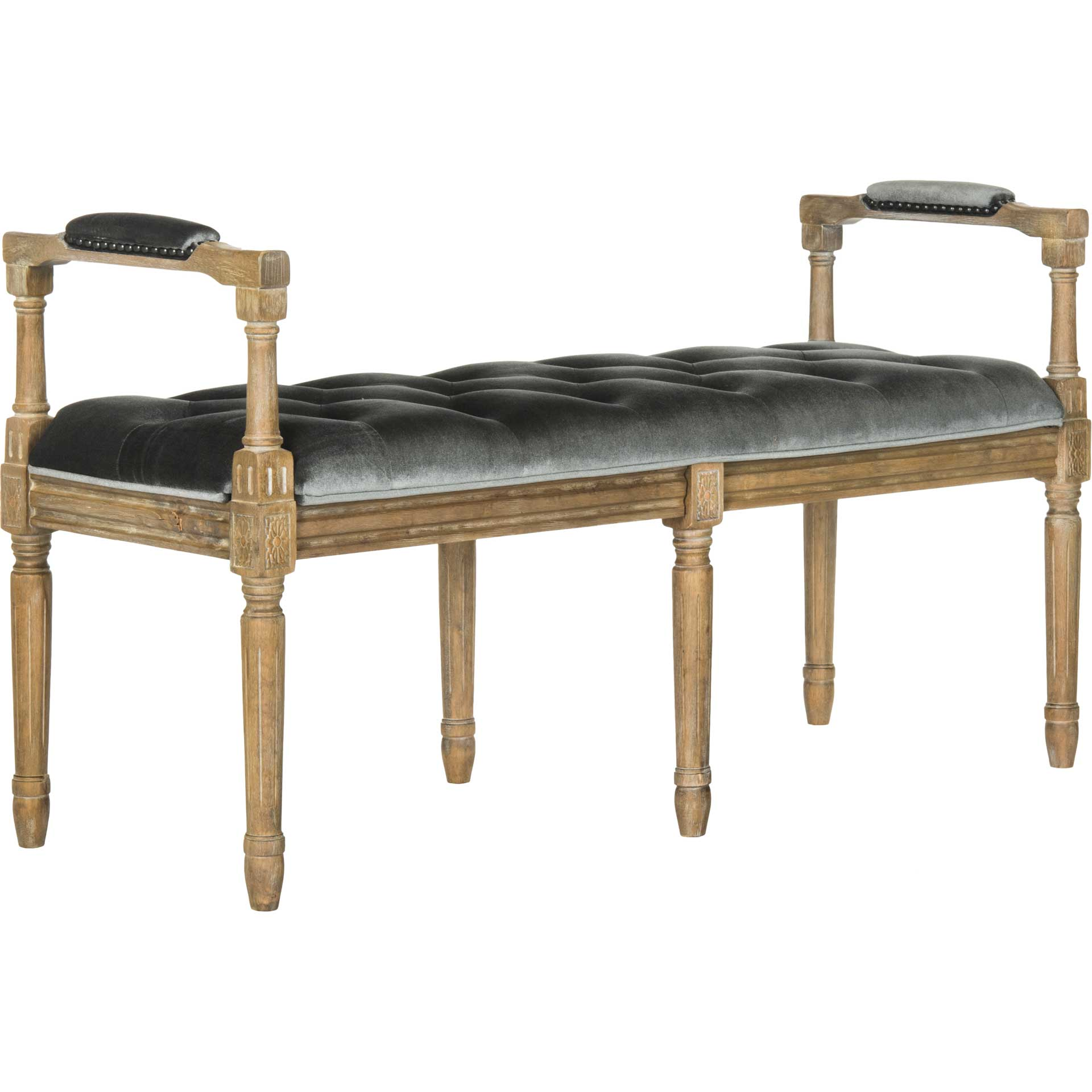 Raja Velvet Rustic Oak Bench Gray/Rustic Oak