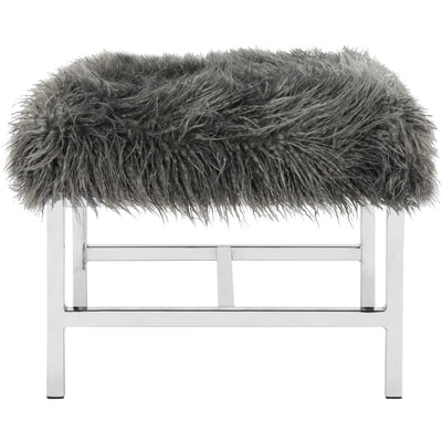 Hollingsworth Faux Sheepskin Square Bench Gray