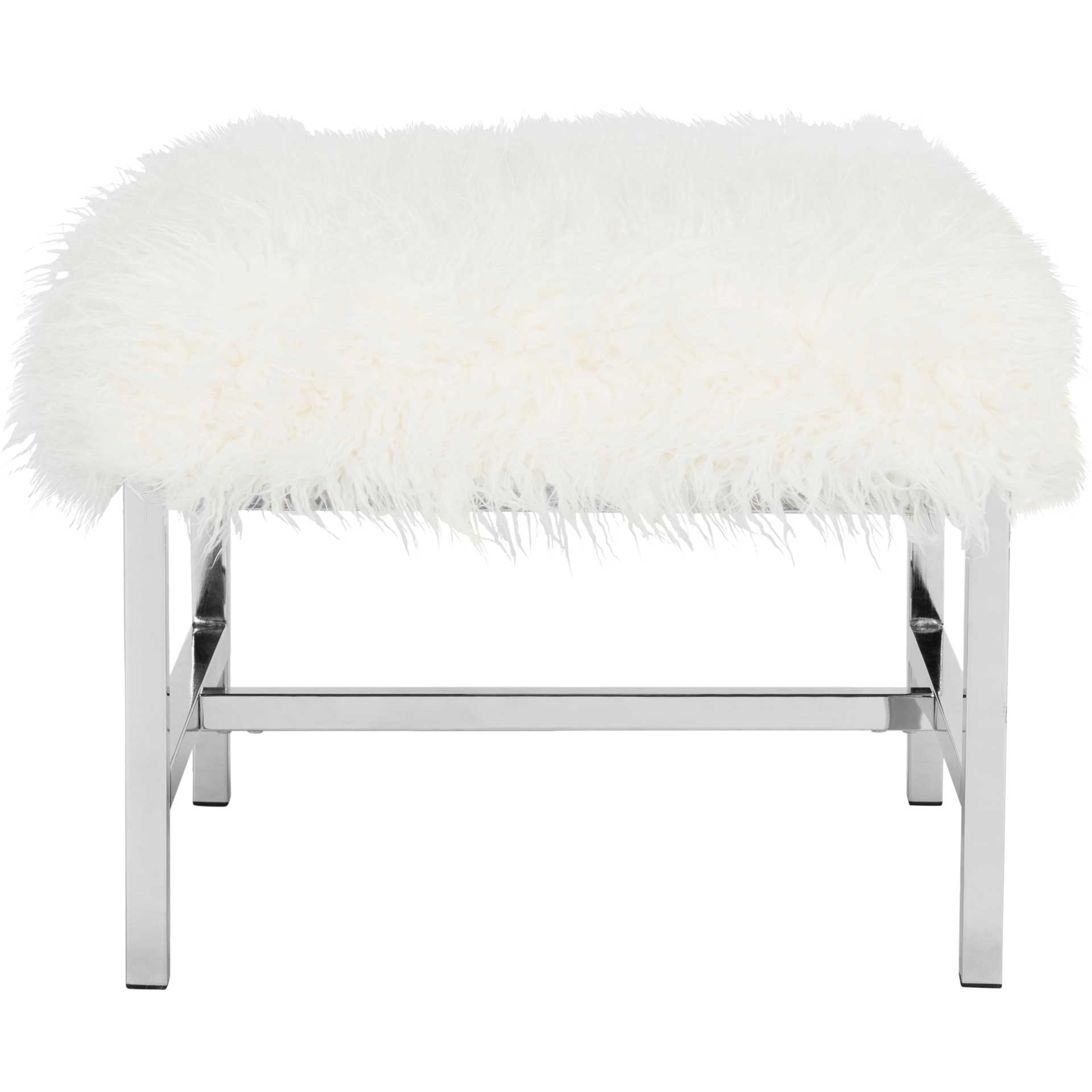 Hollingsworth Faux Sheepskin Square Bench White