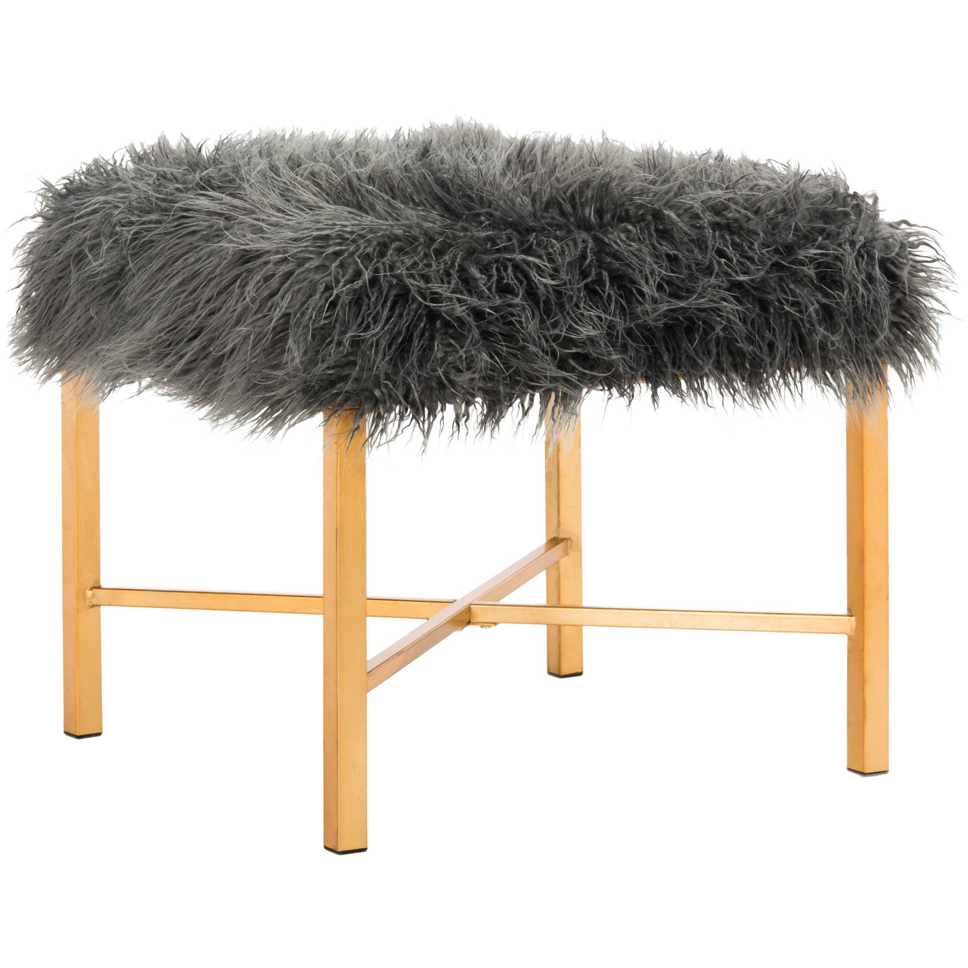 Hollingsworth Faux Sheepskin X- Square Bench Gray