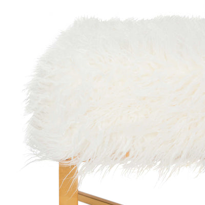 Hollingsworth Faux Sheepskin X- Square Bench White