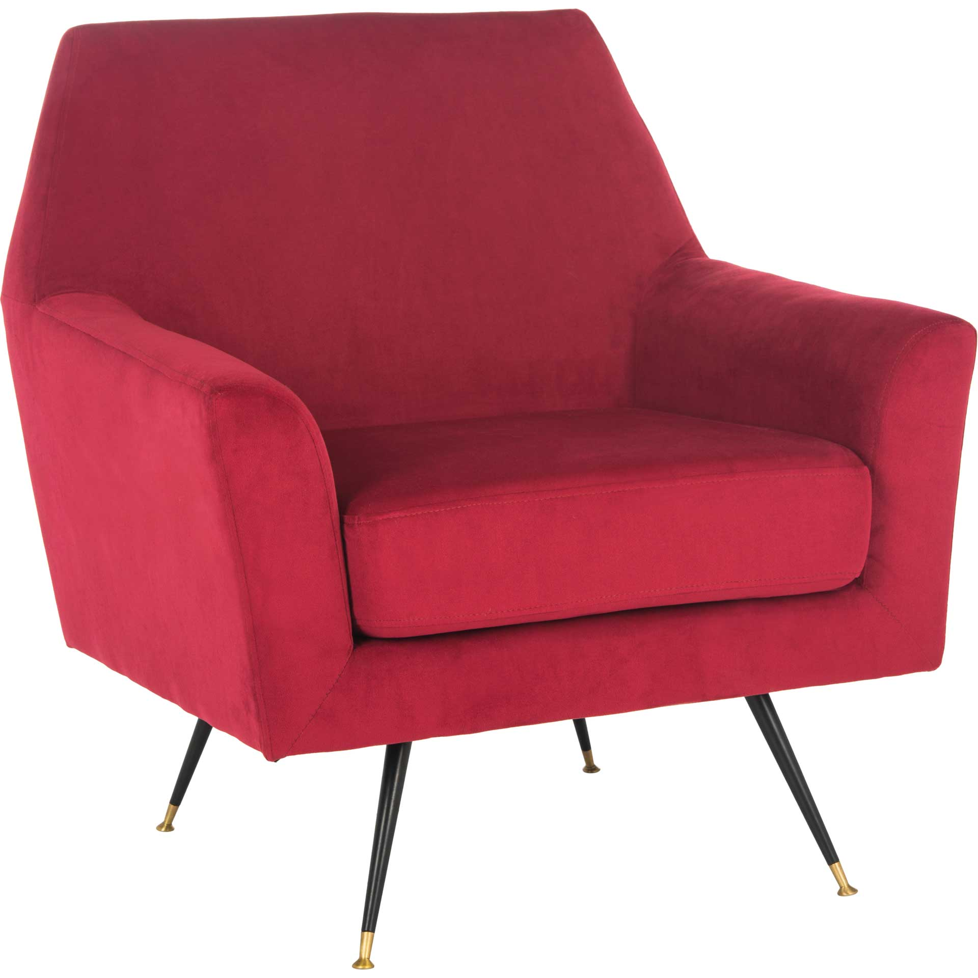 Nynette Velvet Accent Chair Maroon