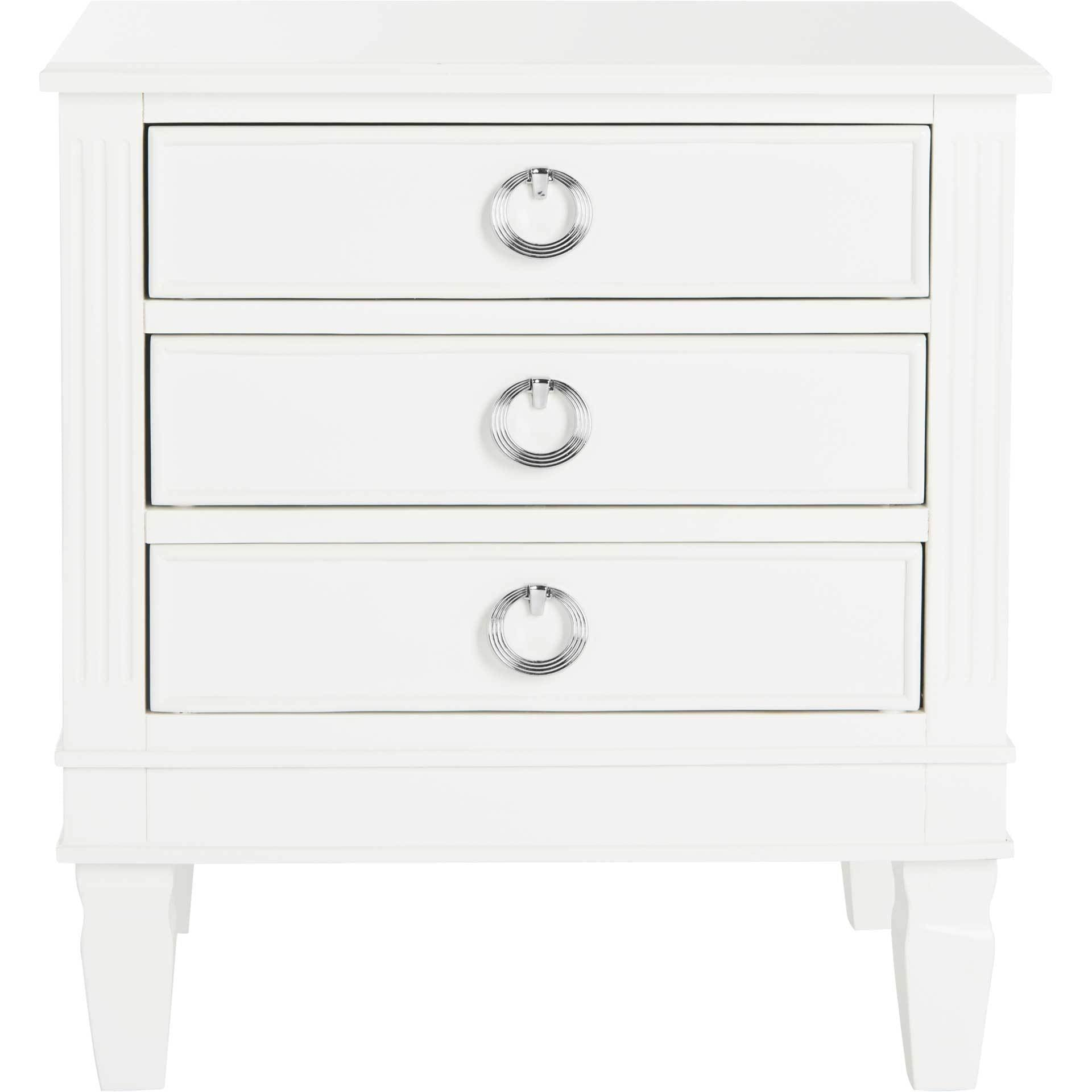 Kinsley Three Drawer Nightstand White