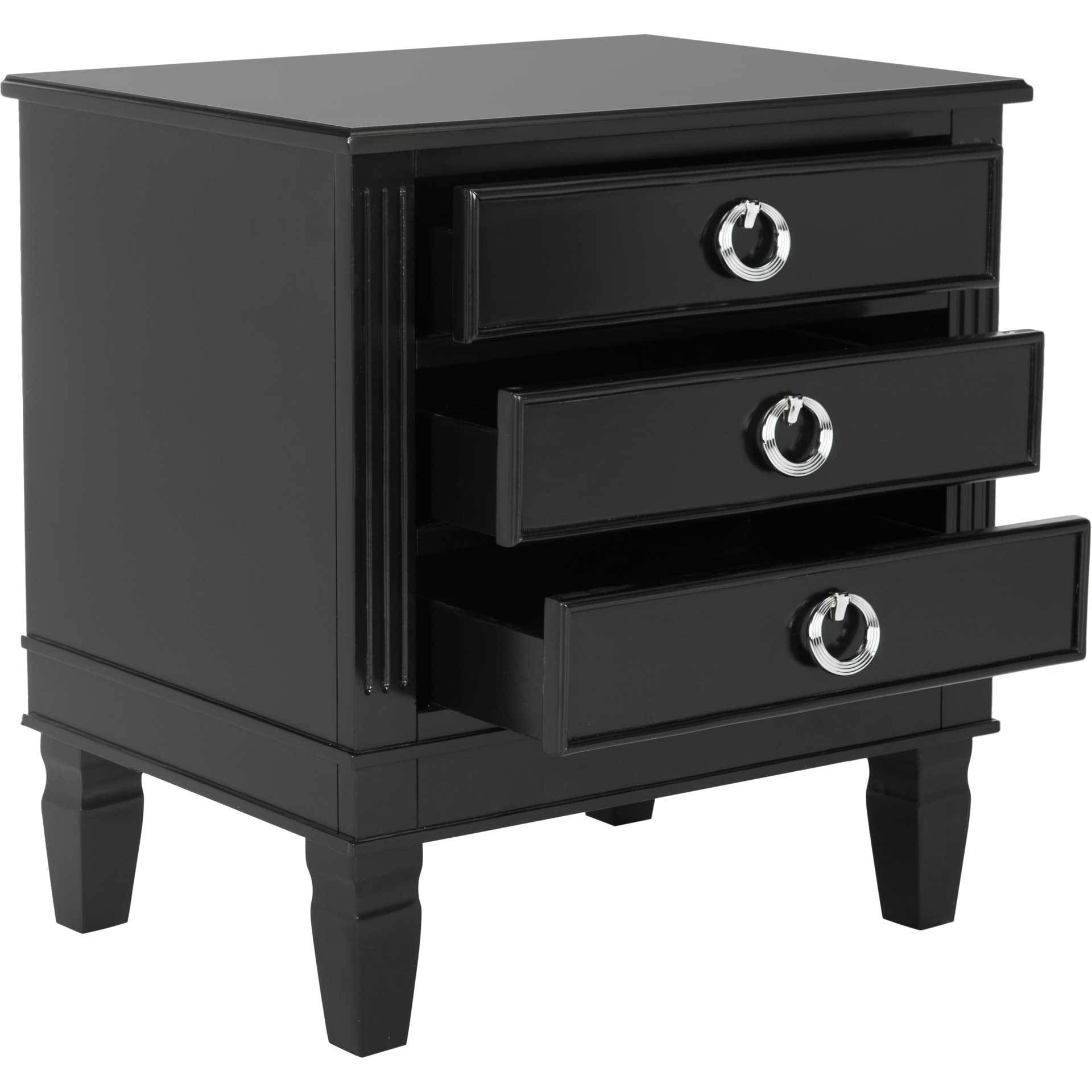 Kinsley Three Drawer Nightstand Black
