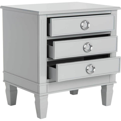 Kinsley Three Drawer Nightstand Gray