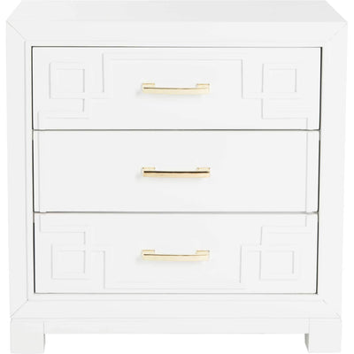 Randy 3 Drawer Greek Key Nightstand White