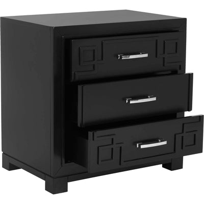 Randy 3 Drawer Greek Key Nightstand Black