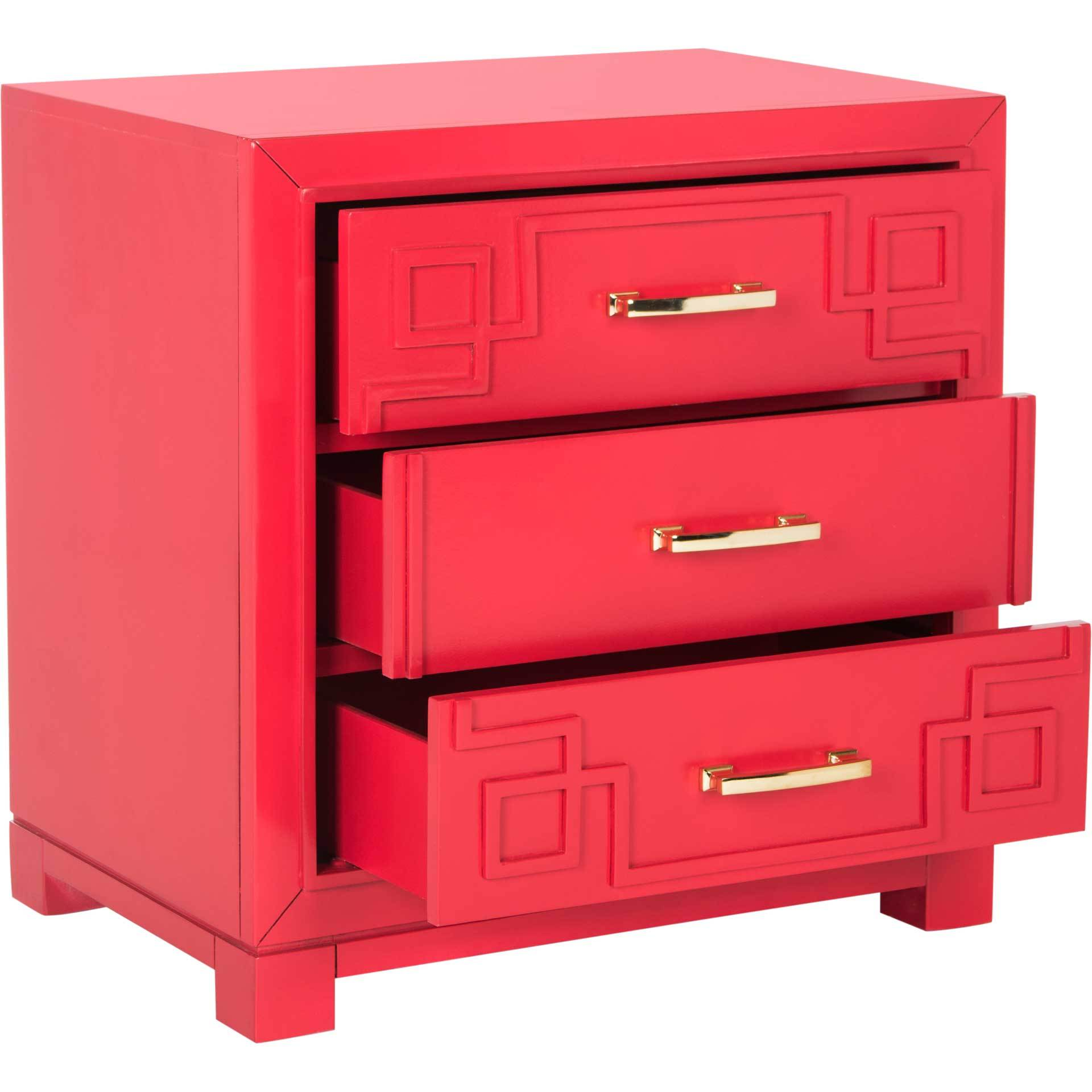 Randy 3 Drawer Greek Key Nightstand Red