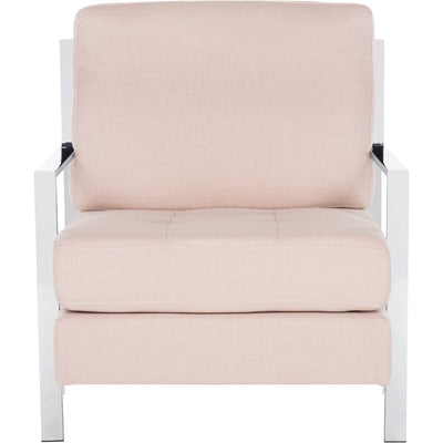 Waffle Tufted Linen Chrome Accent Chair Beige