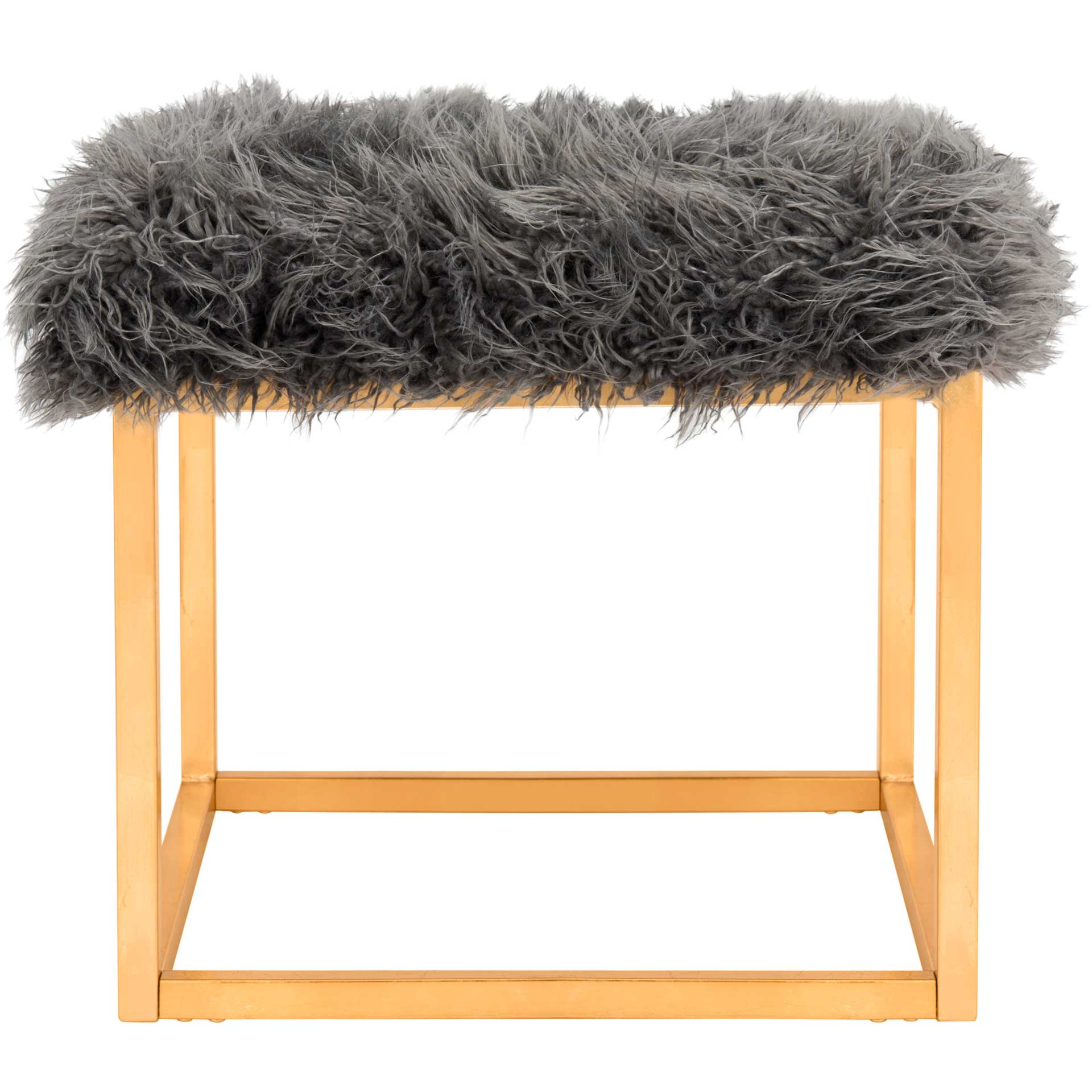 Ronnie Faux Sheepkin Square Ottoman Gray