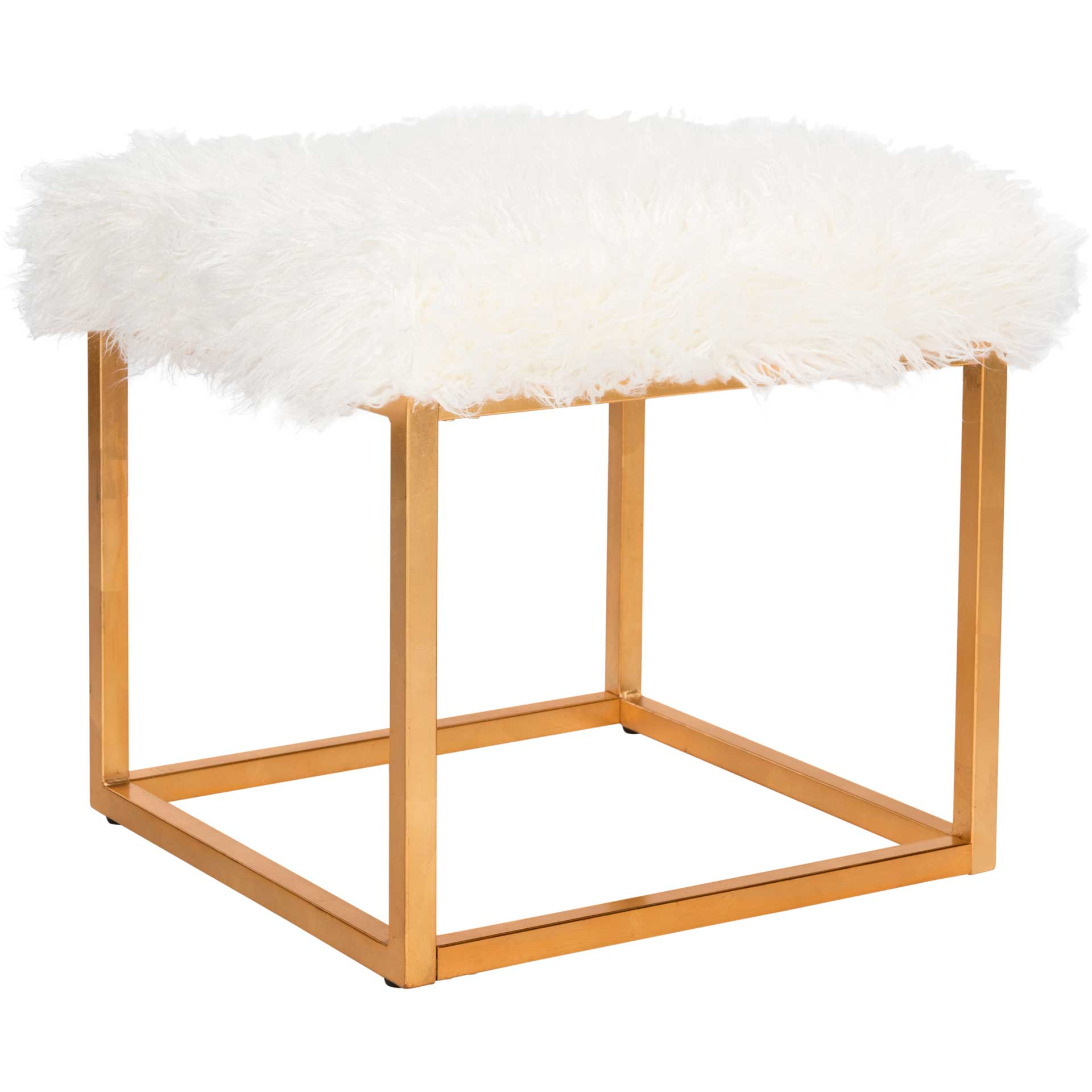Ronnie Faux Sheepkin Square Ottoman White