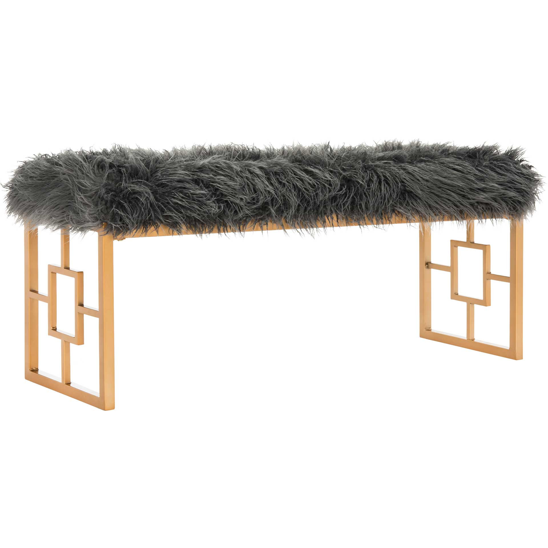 Meher Faux Sheepskin Bench Gray