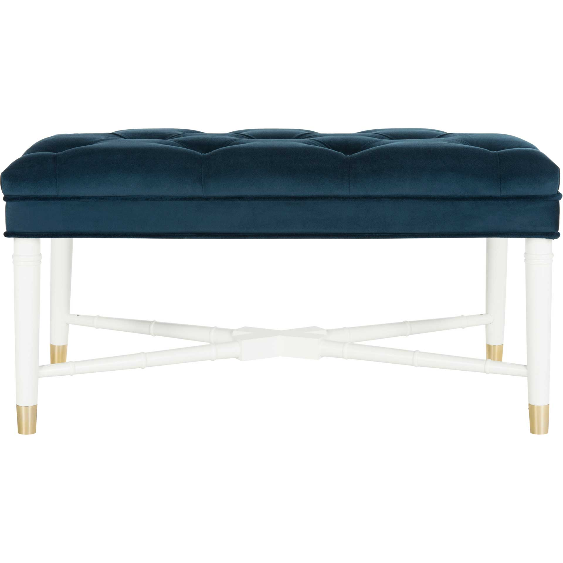 Roy Contemporary Tufted Bench Navy/White