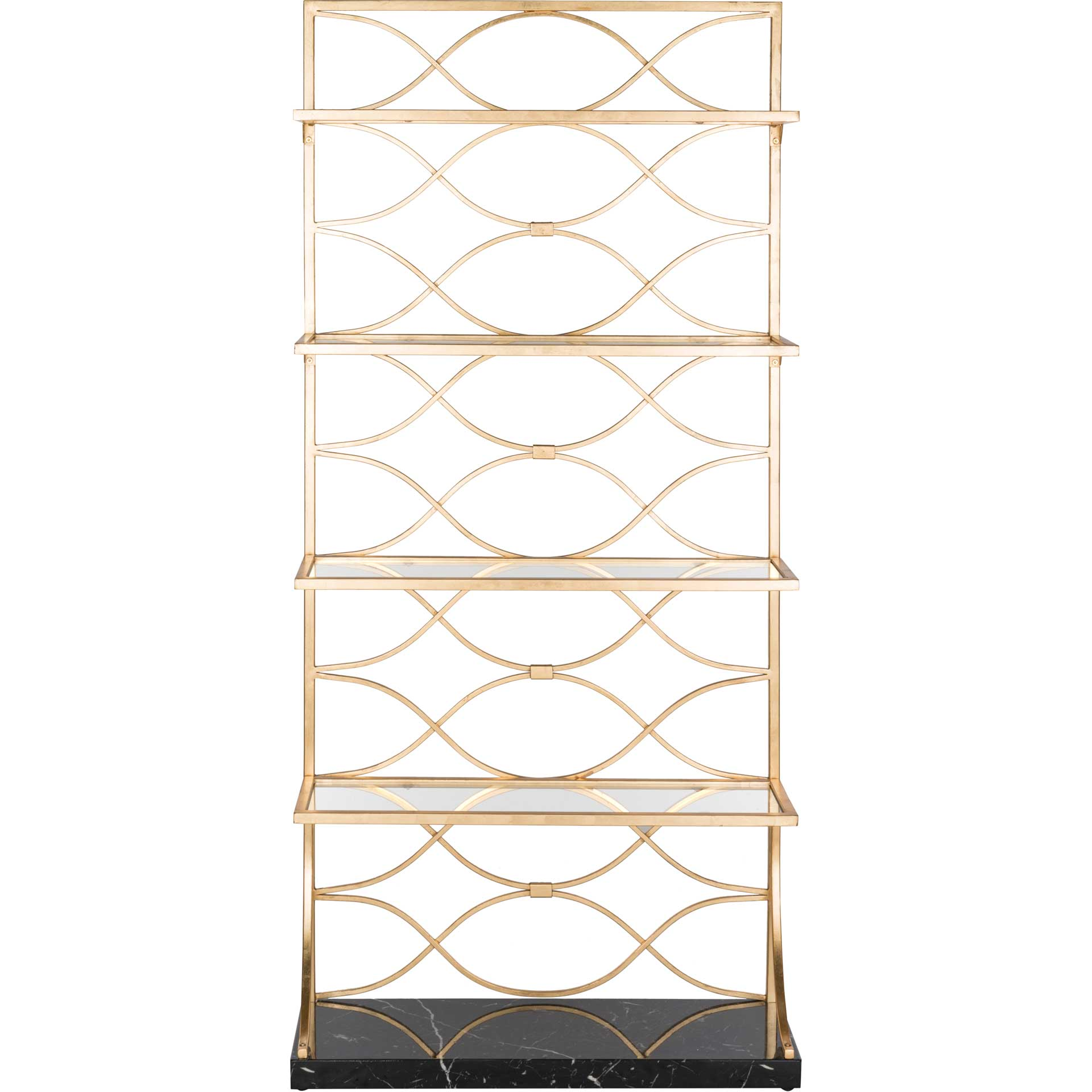 Sparkle Marble Base Etagere Gold/Black/Clear