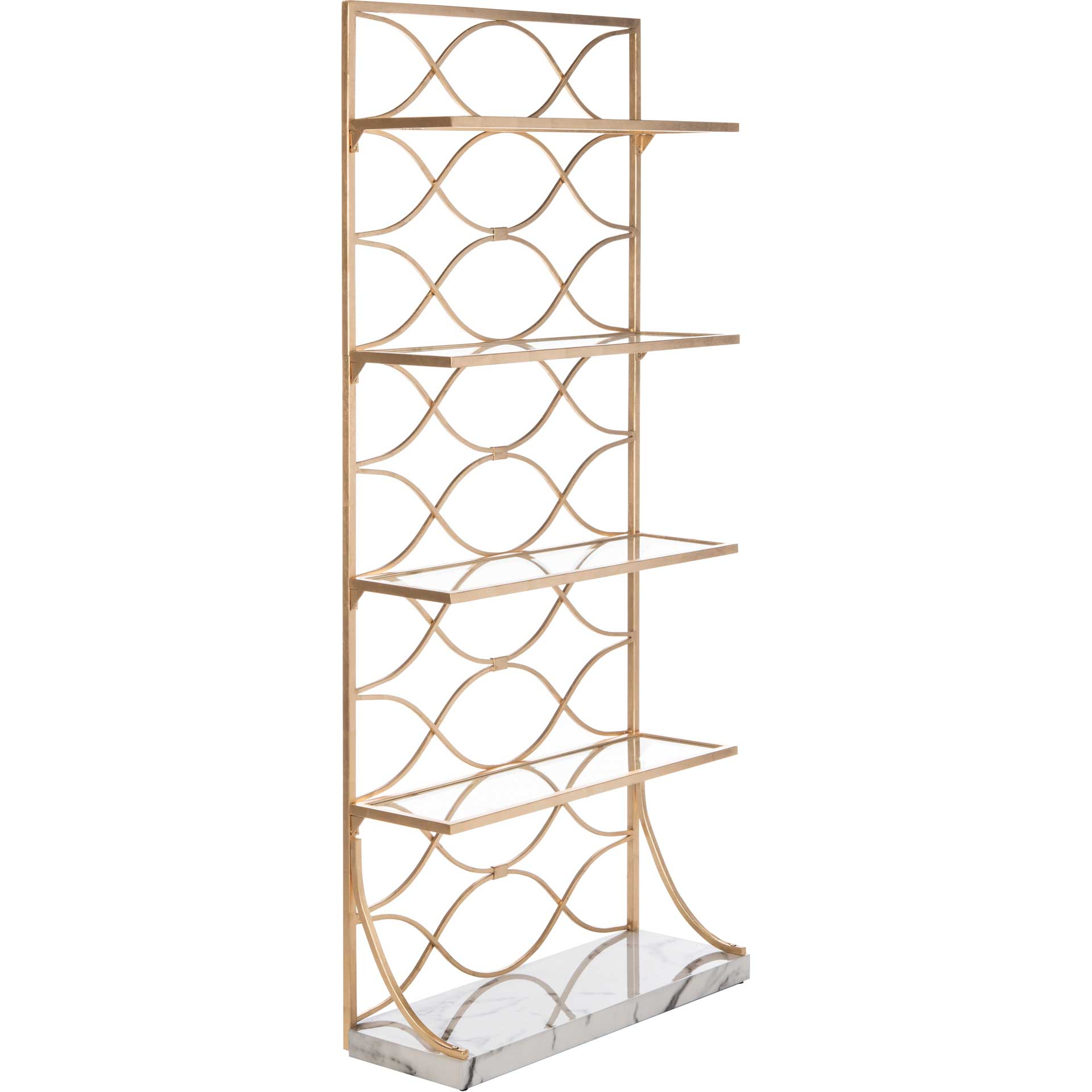 Sparkle Marble Base Etagere Gold/White/Clear