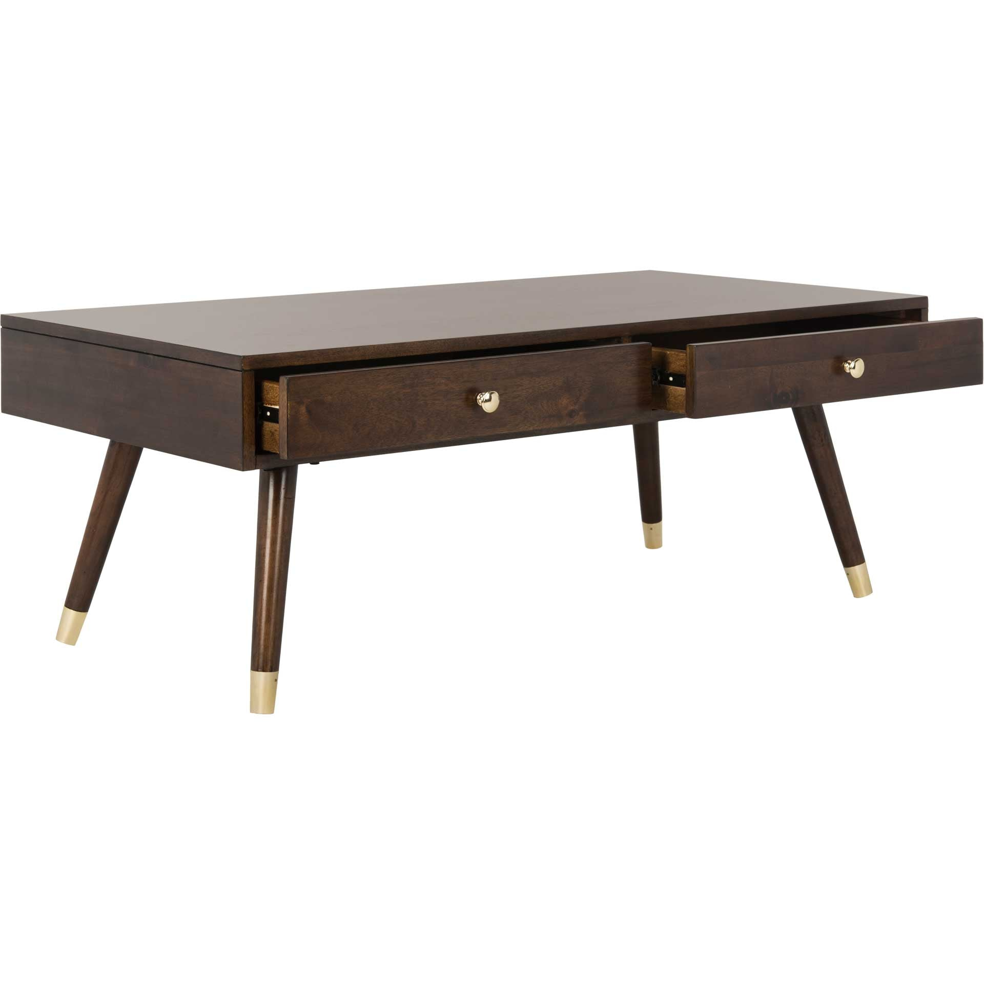 Ledger Gold Cap Coffee Table Brown