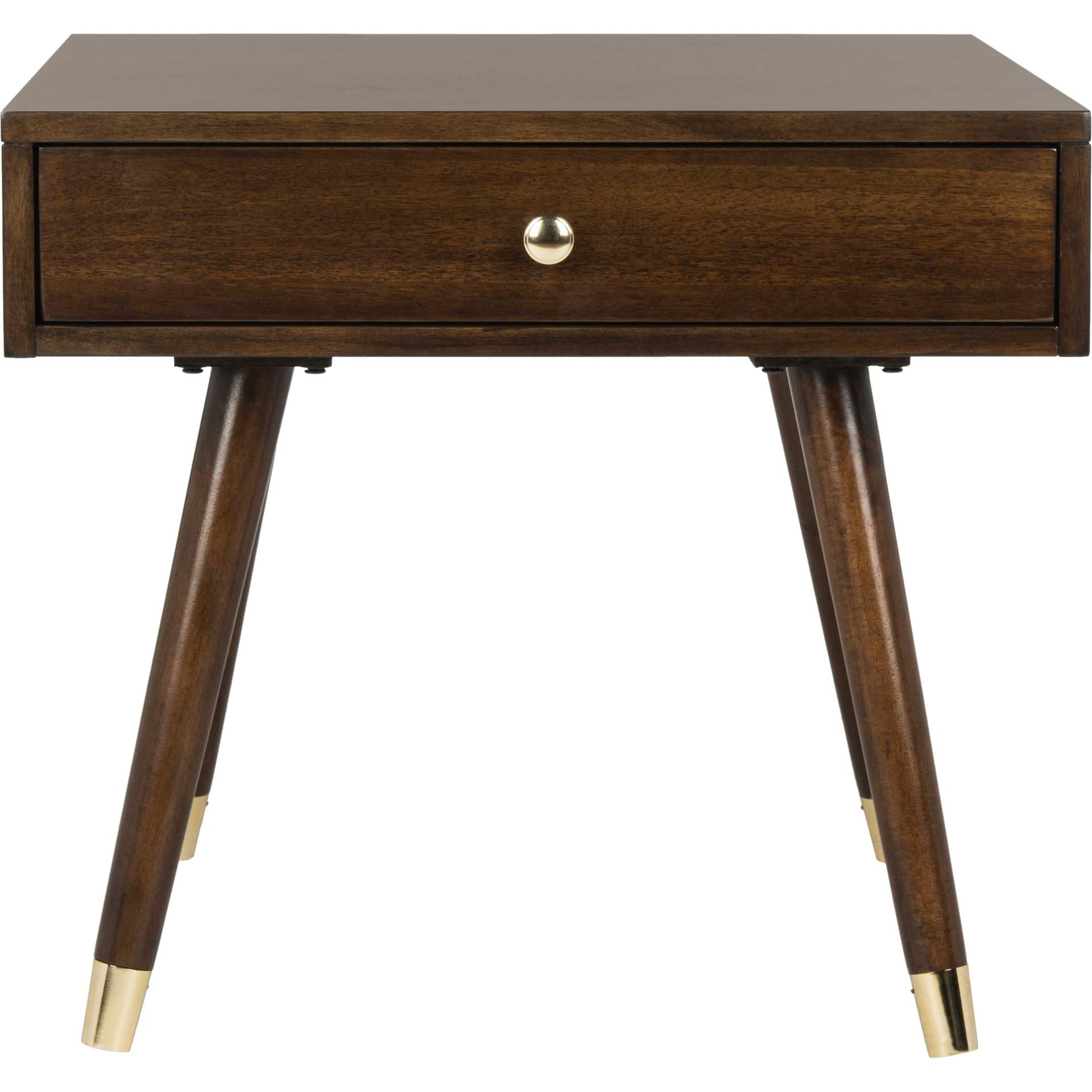 Ledger Gold Cap End Table Brown