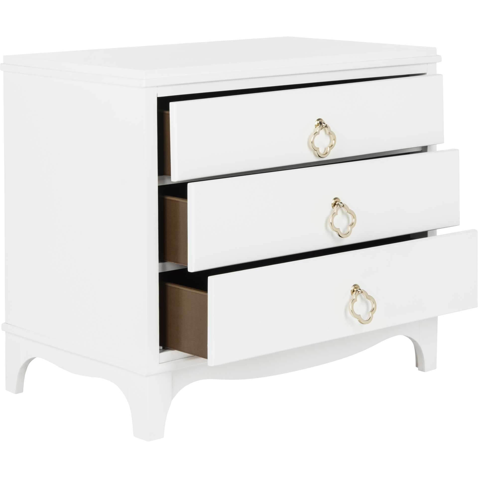 Hamden 3 Drawer Contemporary Nightstand White