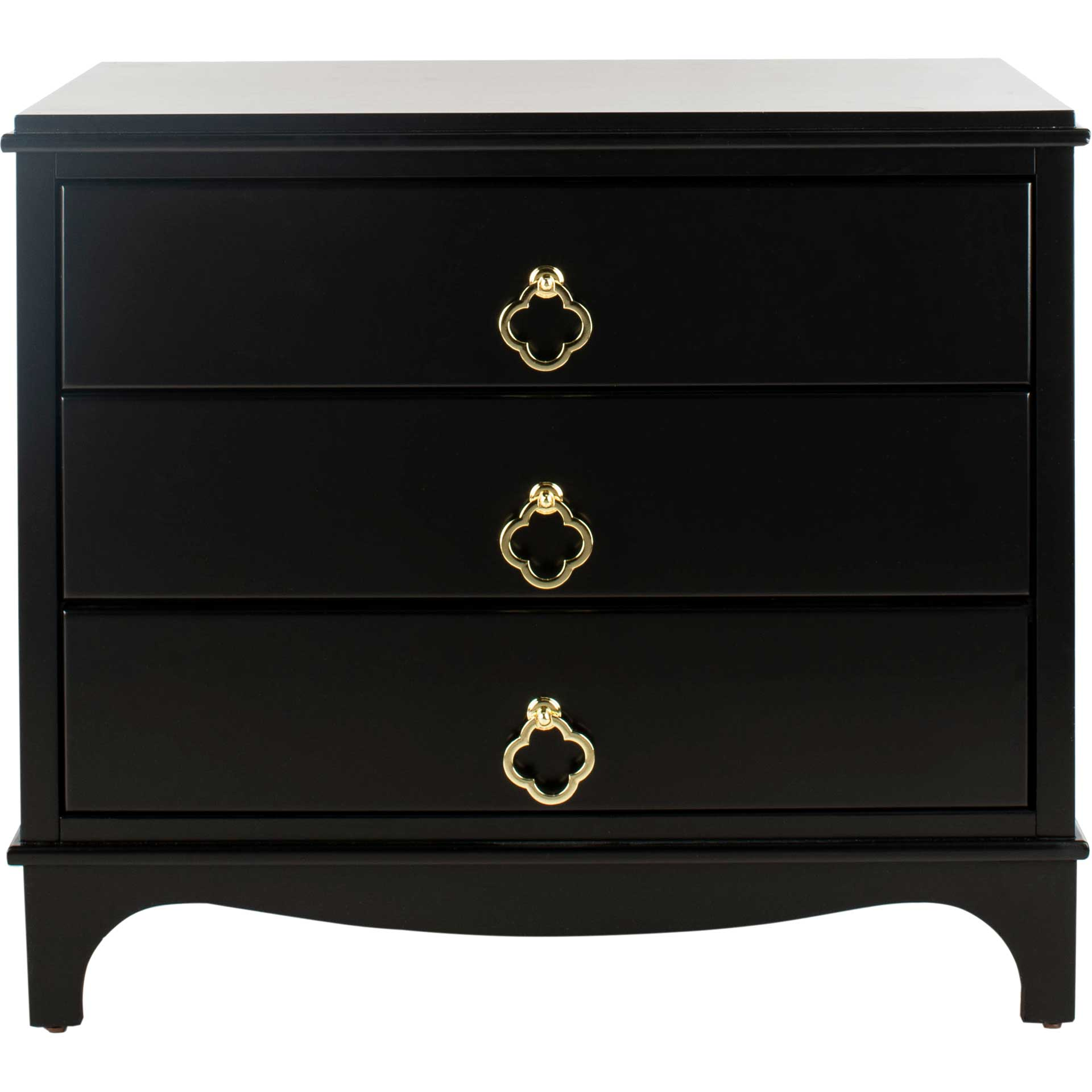 Hamden 3 Drawer Contemporary Nightstand Black
