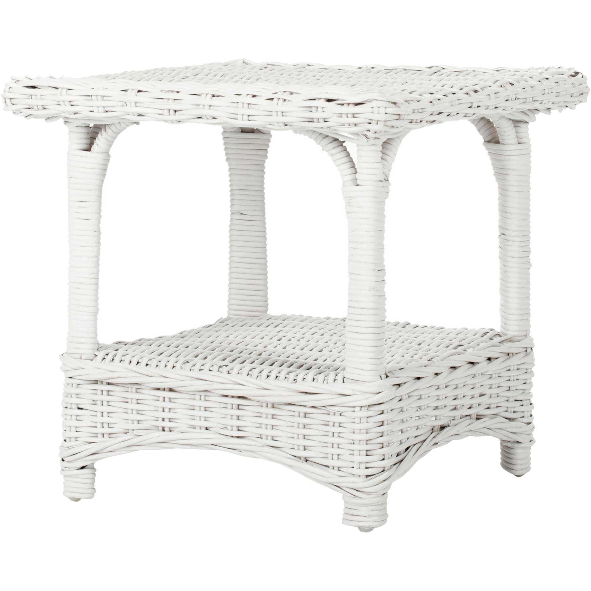 Bowie Rattan Side Table White