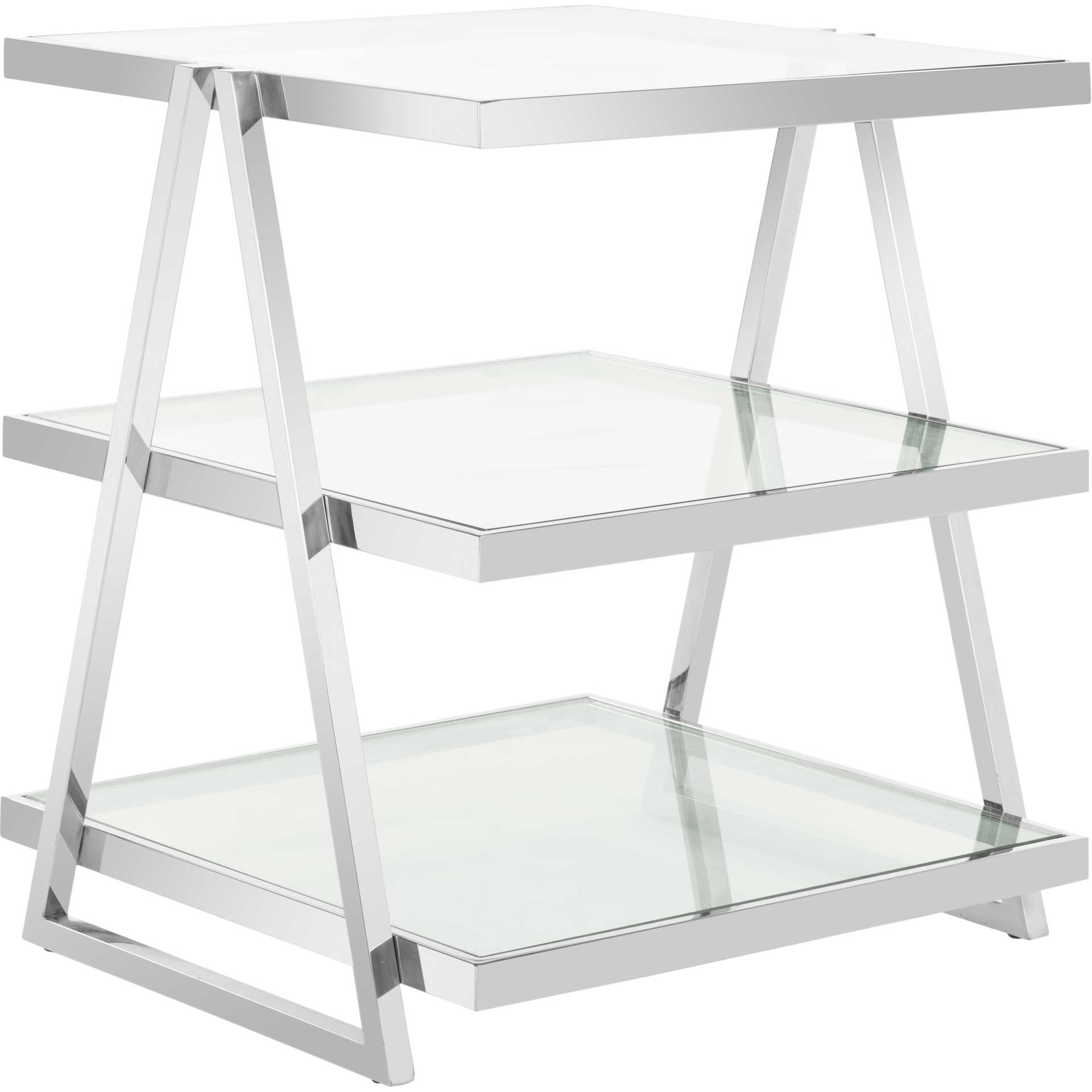 Strive 3-Tier Glass End Table Chrome
