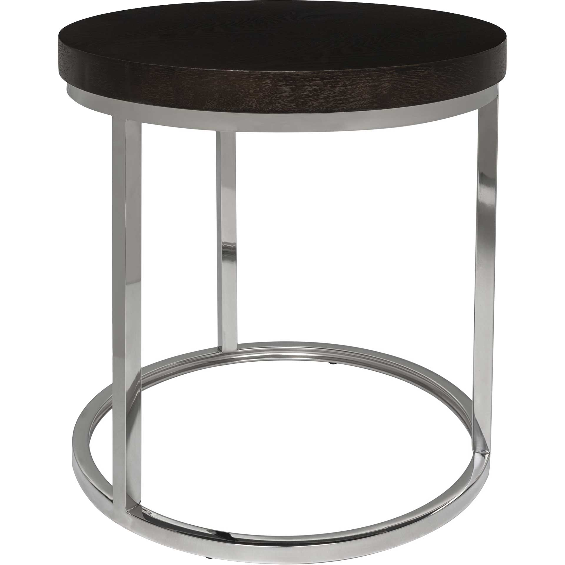 Tullis Black Glass Top Round End Table Black