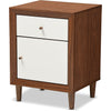 Haven Modern Nightstand White/Walnut