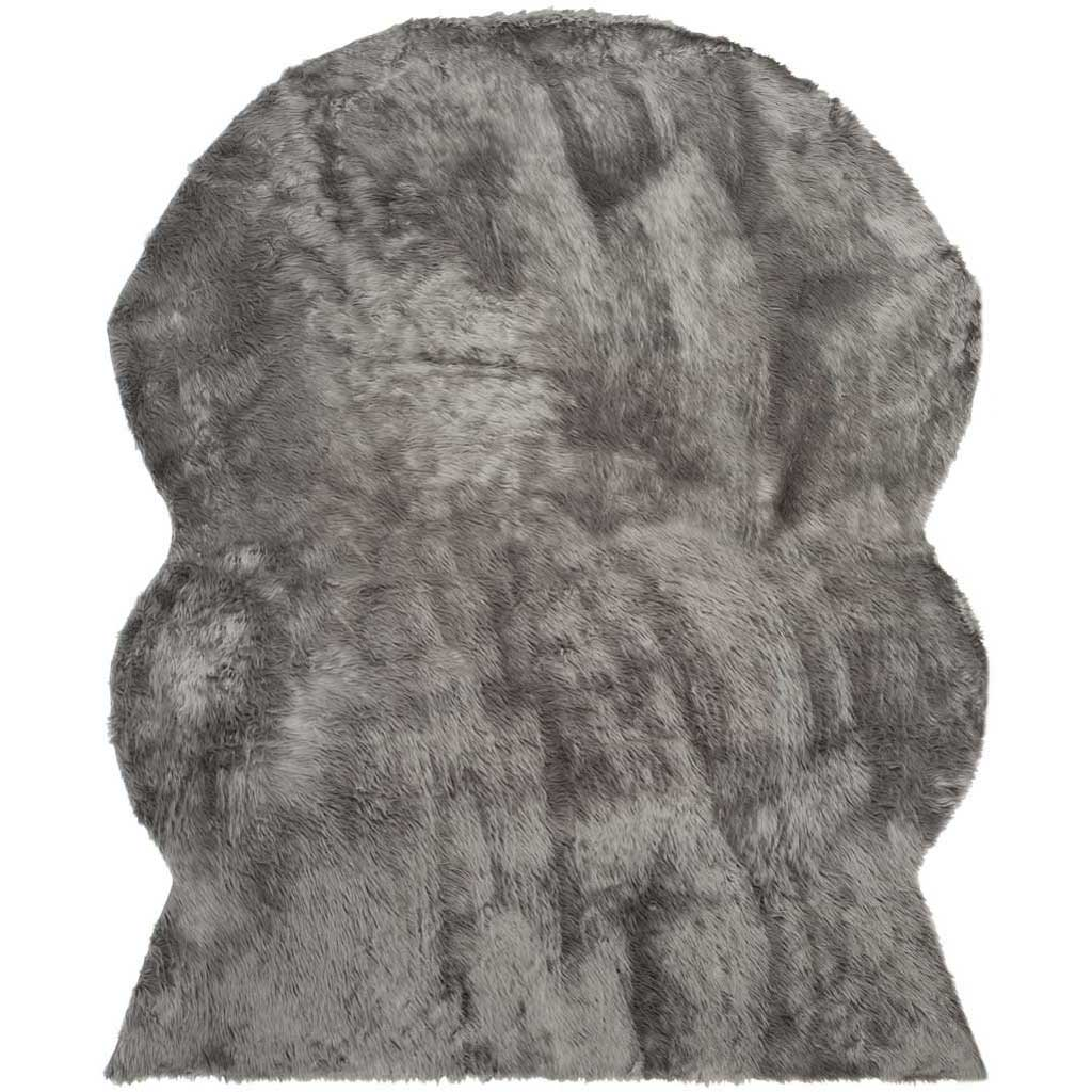 Faux Sheepskin Pelt Gray Area Rug