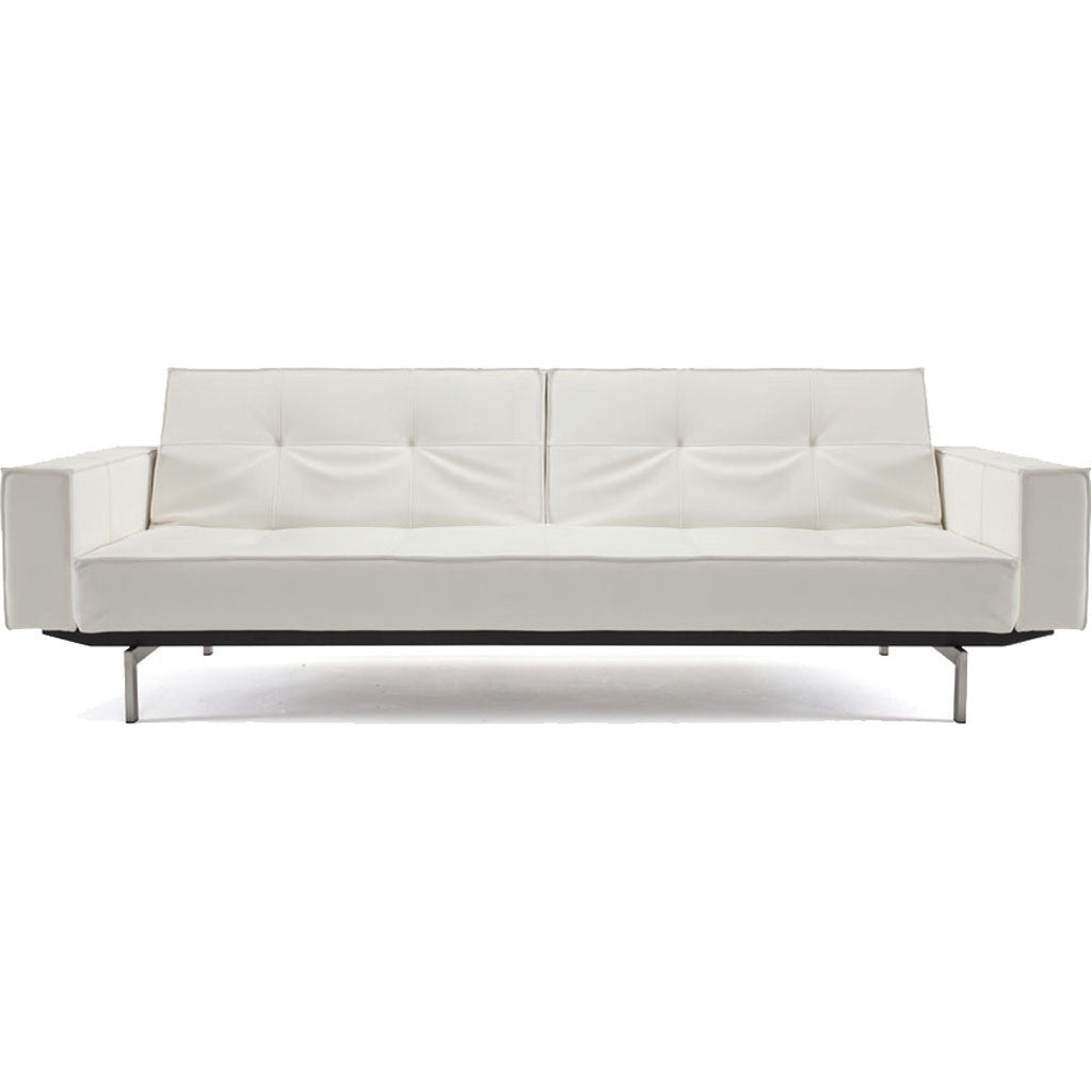 Stockholm Arm Sofa Steel White Leather