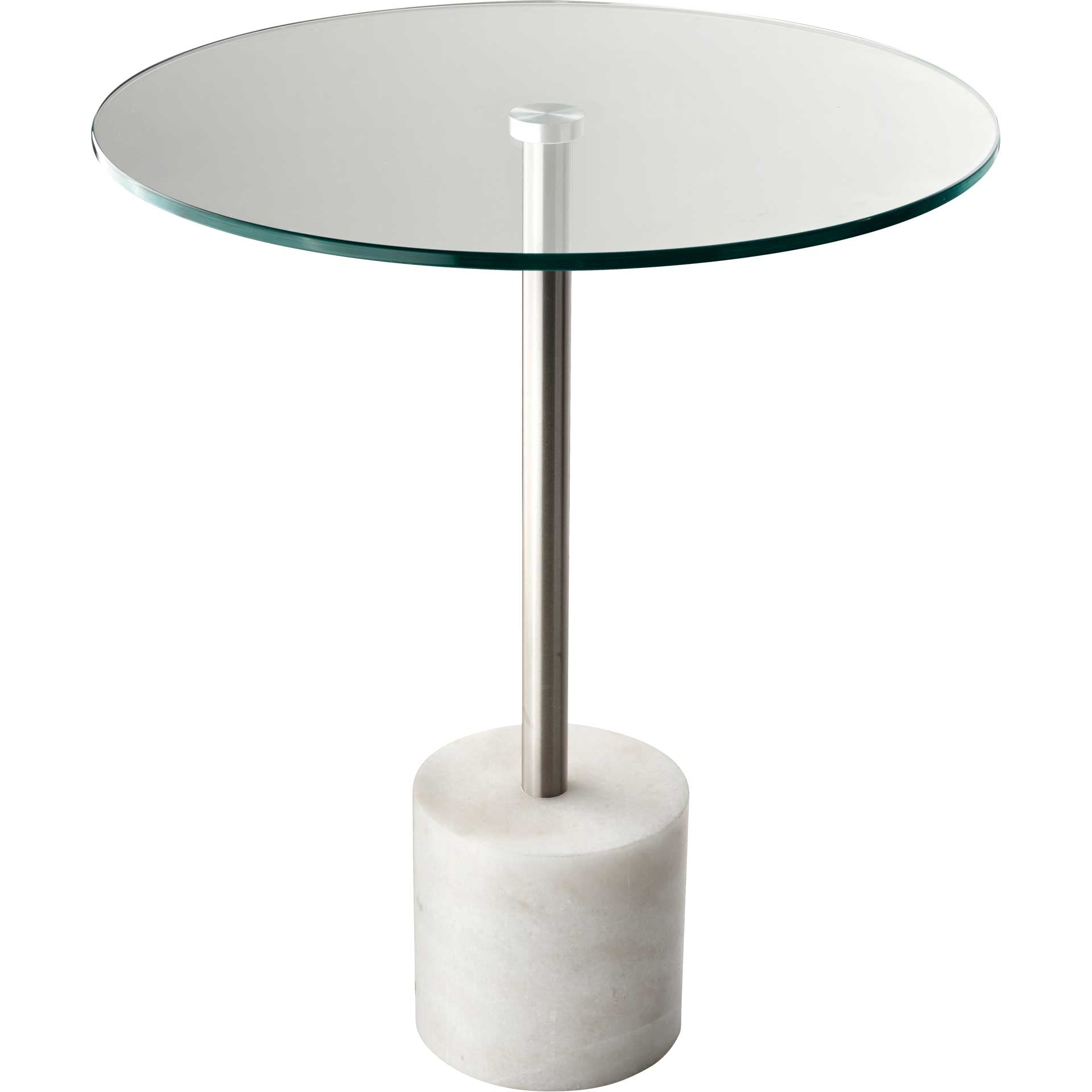 Blane End Table Brushed Steel/White