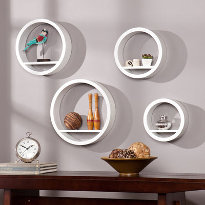 Bain Circle Shelf White (Set of 4)