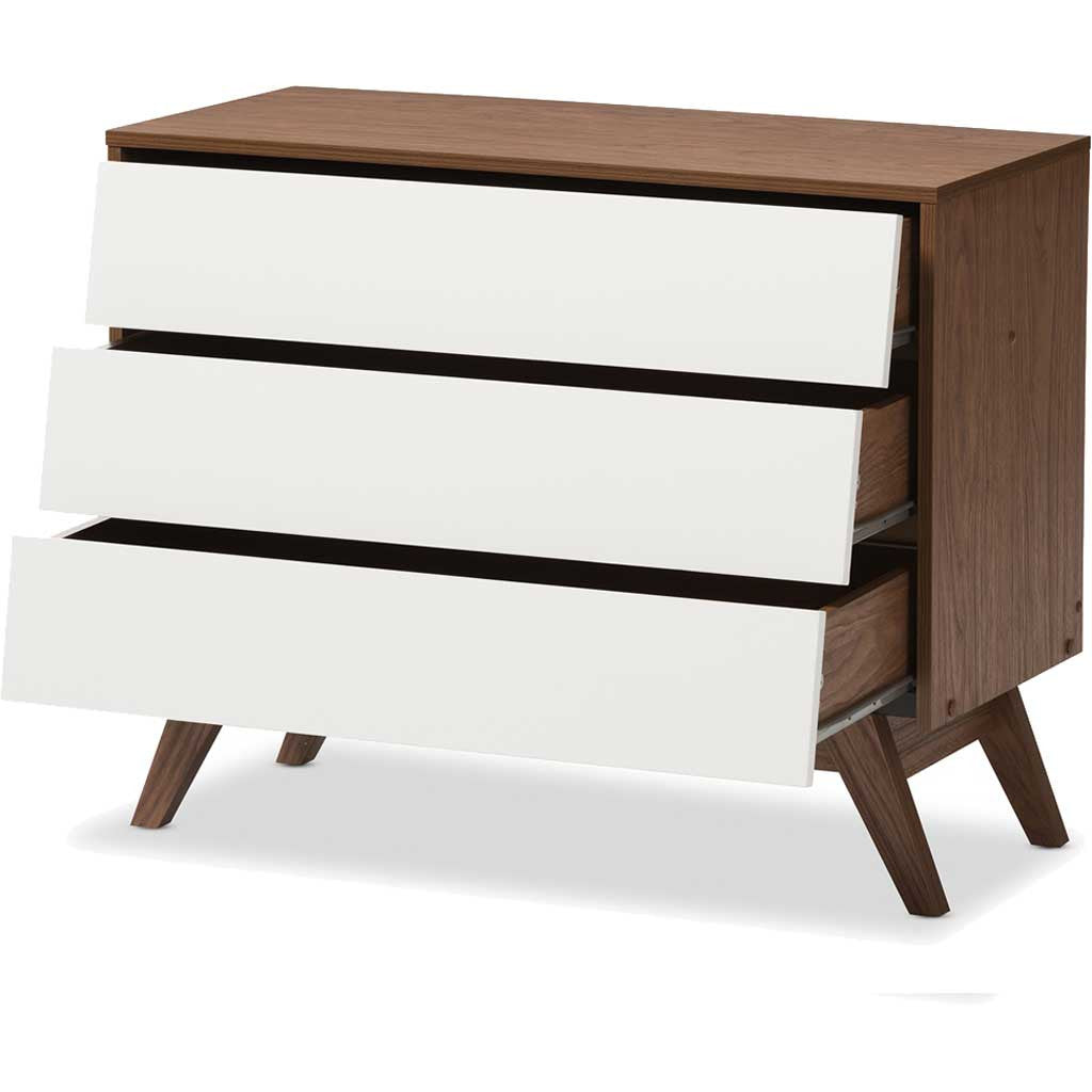Hilson 3-Drawer Chest White/Walnut