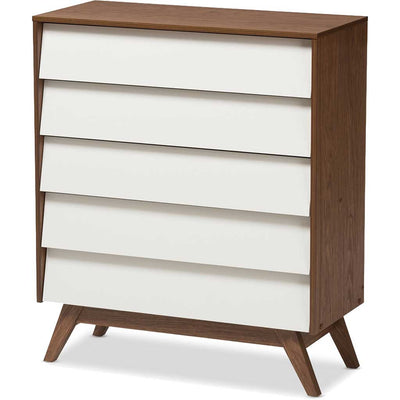 Hilson 5-Drawer Dresser White/Walnut