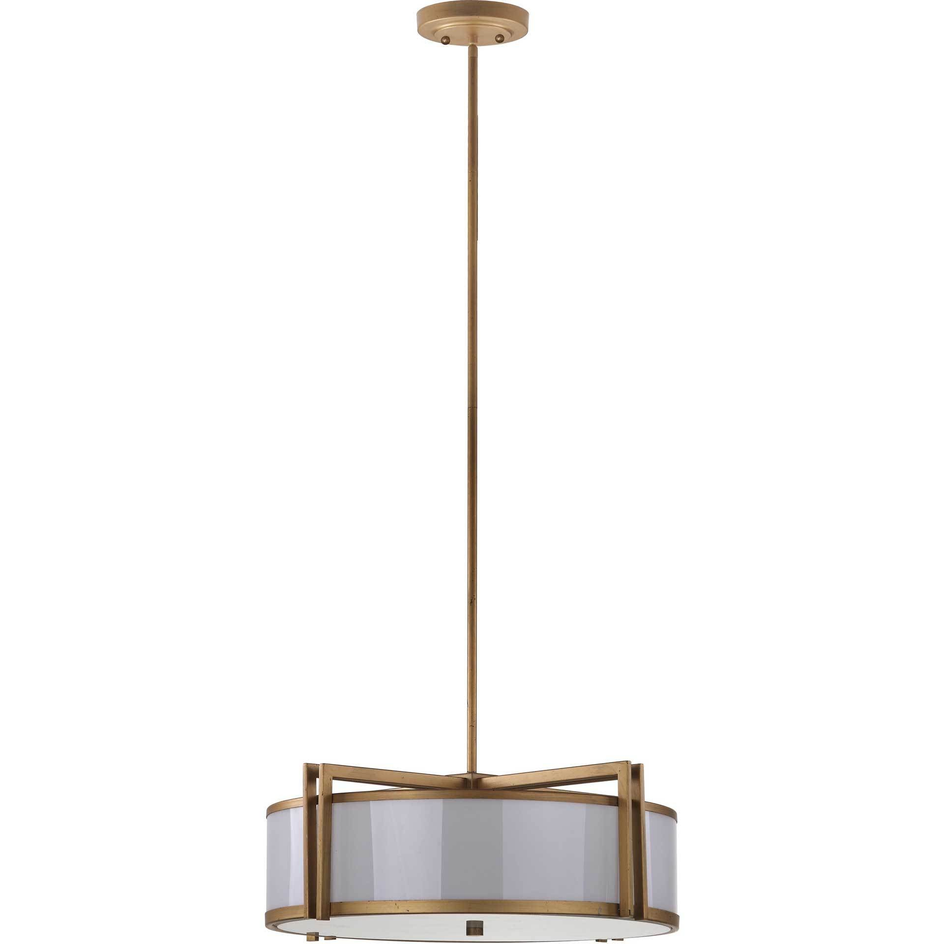 Oren Antique Gold Drum Adjustable Pendant Light