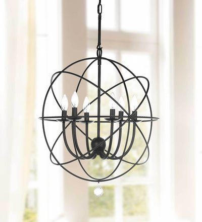 Everett Adjustable Chandelier Black