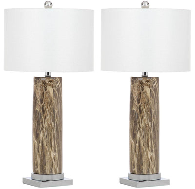 Sofia Faux Marble Table Lamp Brown (Set of 2)