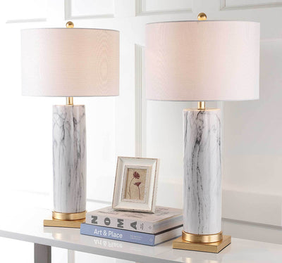 Sofia Faux Marble Table Lamp Black/White (Set of 2)