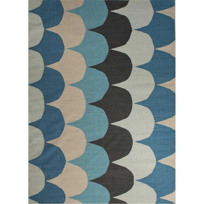 En Casa Ripple Cool Aqua/Black Ink Area Rug