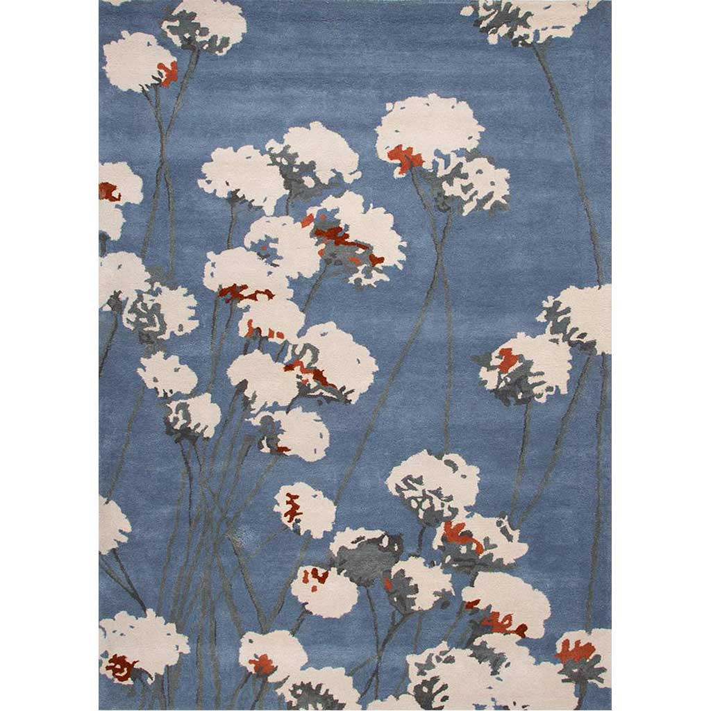 En Casa Cotton Blossom Silver Lake Blue Area Rug