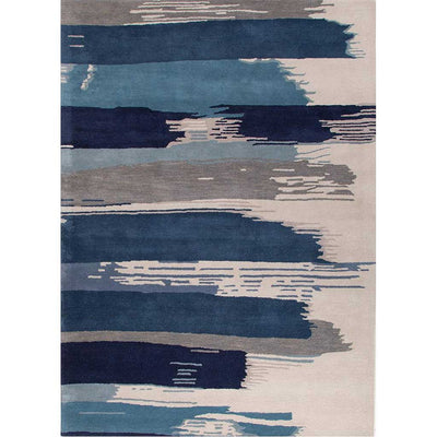 En Casa Painterly White/Dark Denim Area Rug