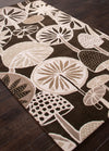En Casa Mushrooms Deep Charcoal Area Rug