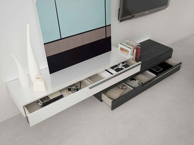 Gramercy Media Console White Lacquer/Gray Oak