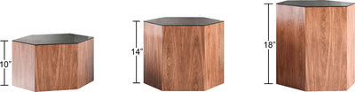 Centre Occasional Table Black Glass/Walnut