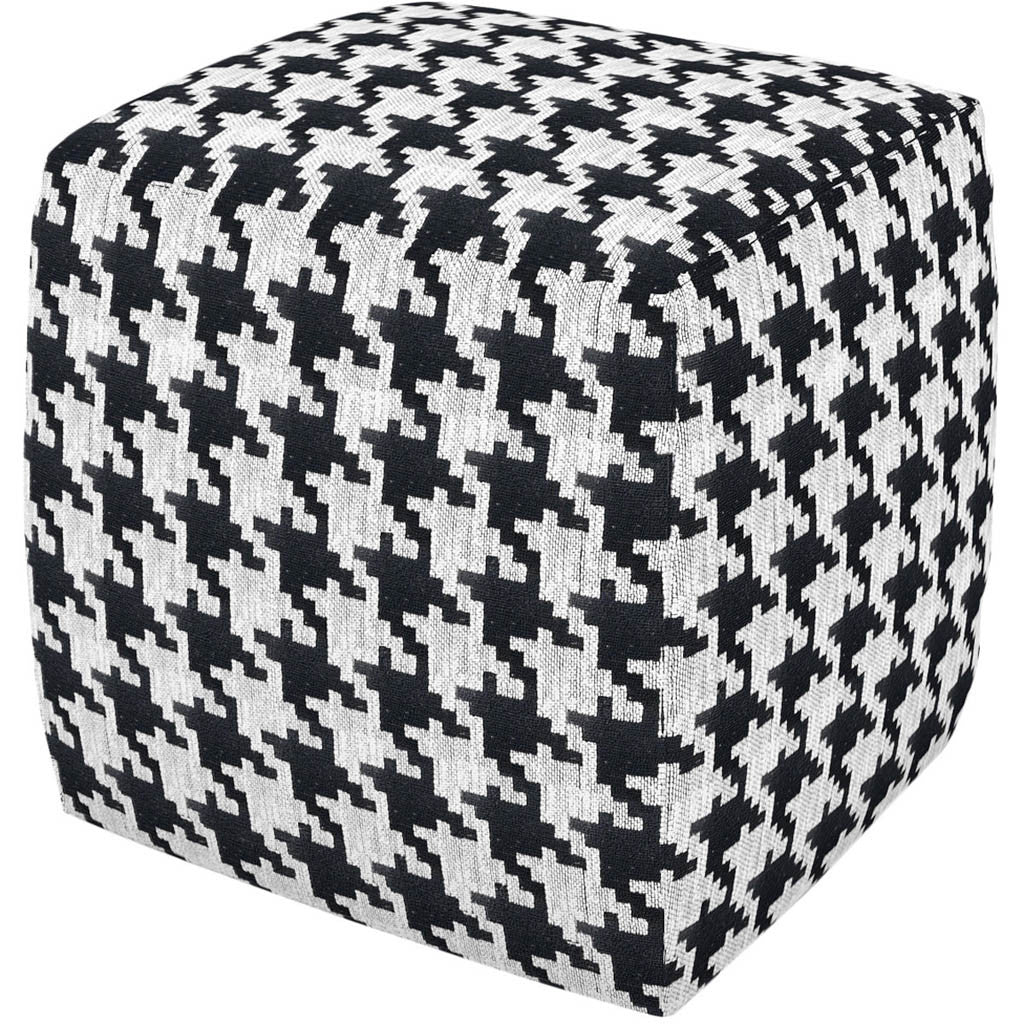 Hester Pouf Black White Houndstooth - FROY