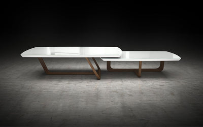 Belvedere Nested Tables White Glass/Walnut