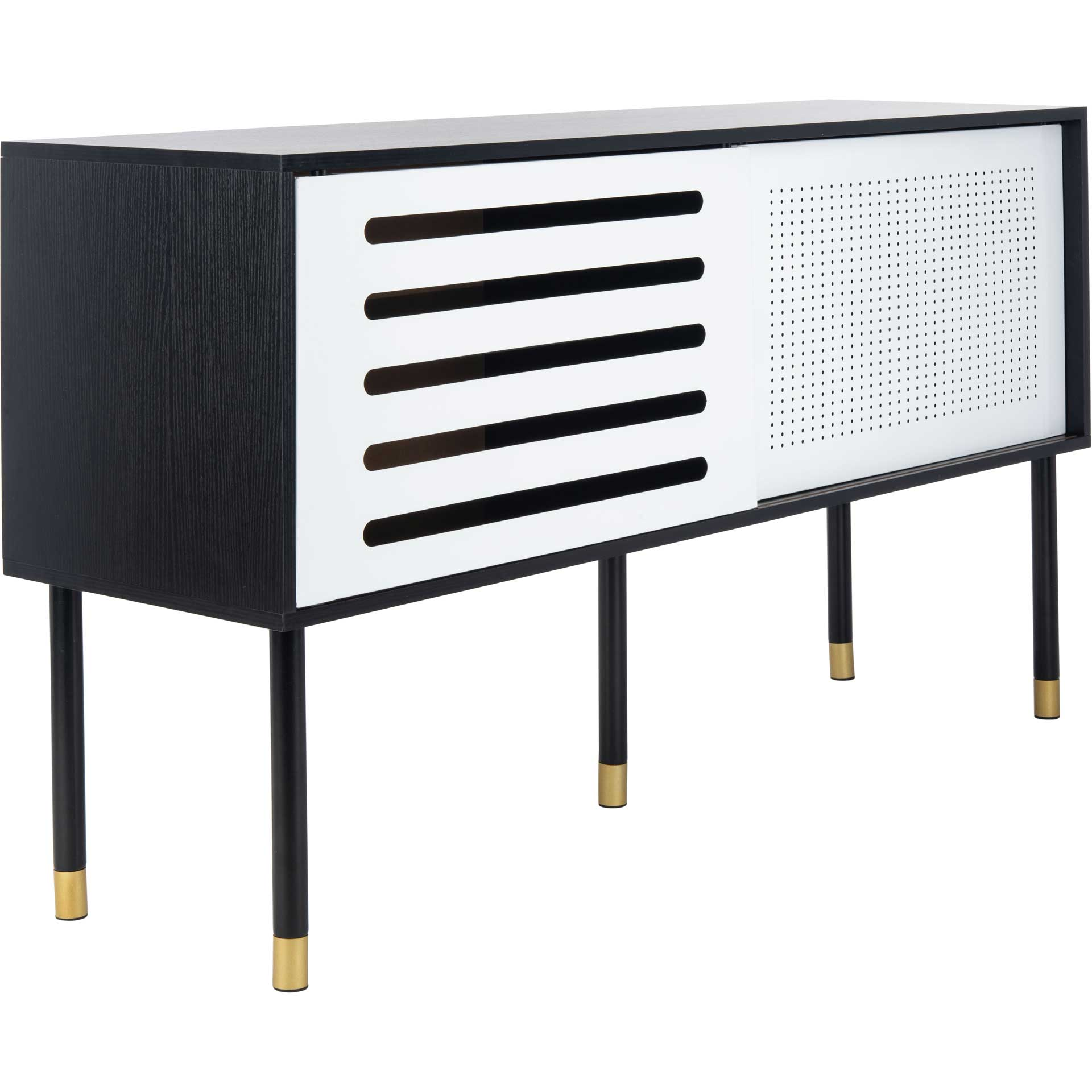 Shanara TV Stand Black/White/Gold