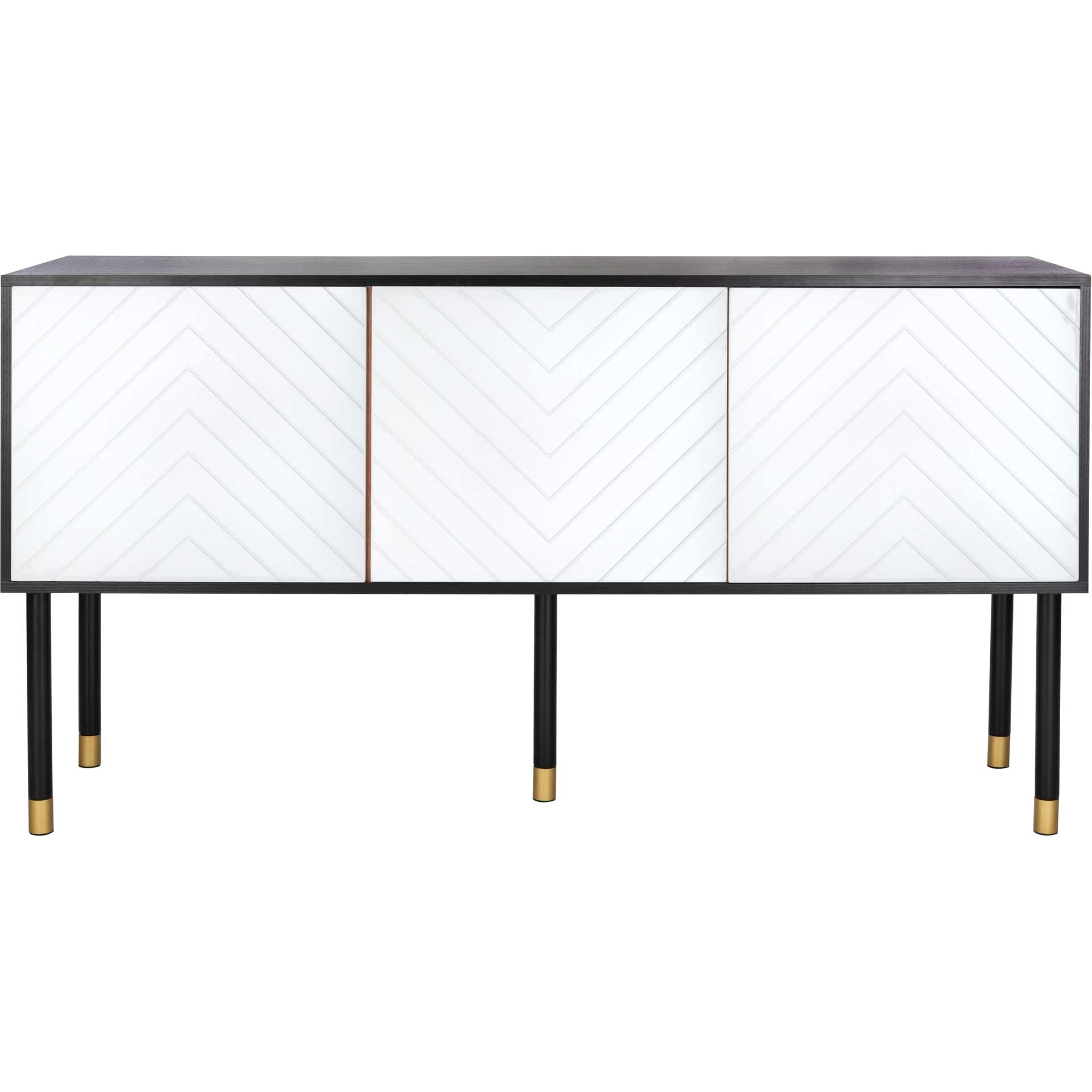 Oaklee TV Stand Black/White/Gold
